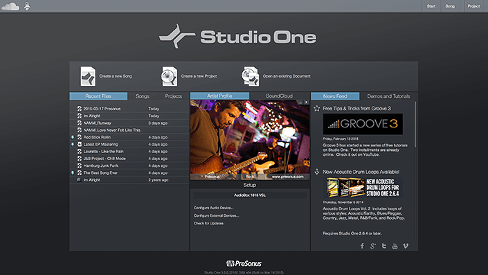Presonus Studio One 3 - Cele mai bune softuri DAW 2017